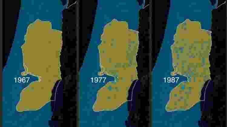 Um mapa dos assentamentos israelenses na Cisjordânia entre 1967-1987 - BBC - BBC