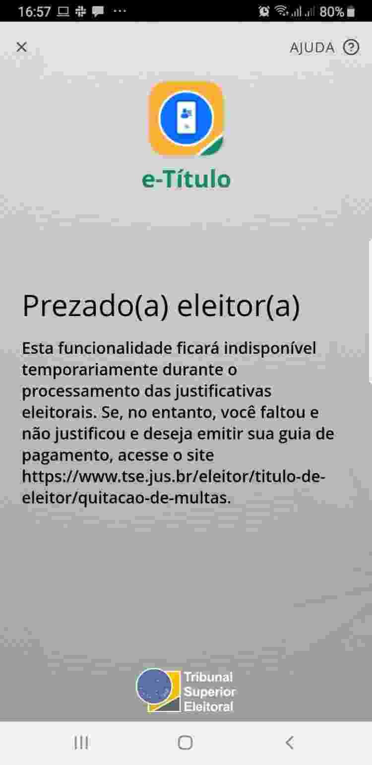 """Aplicativo e-Título desabilitou função de """"débitos eleitorais"""" - Reprodução/Tilt - Reprodução/Tilt"""