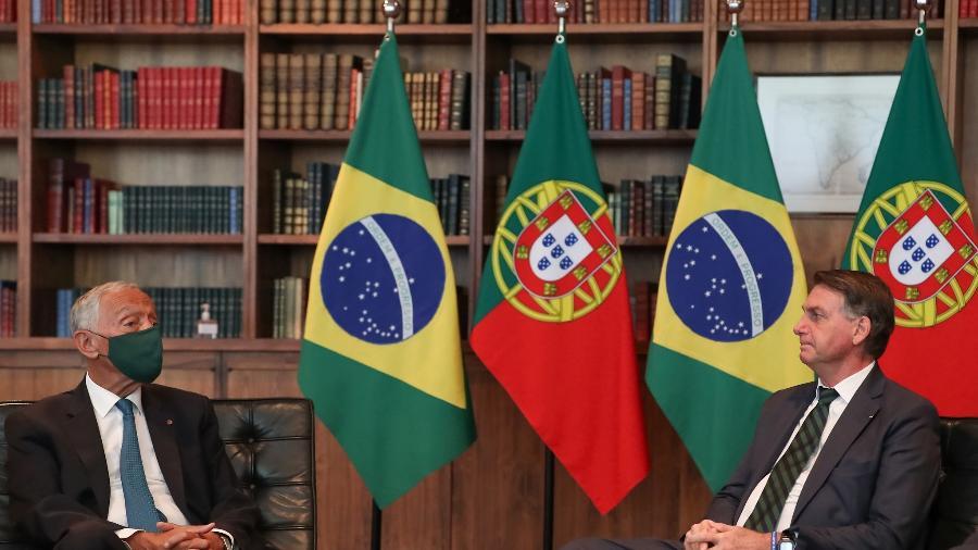 Ontem, sem máscara, Bolsonaro recebeu o presidente de Portugal, Marcelo Rebelo de Sousa  - Marcos Corrêa/PR