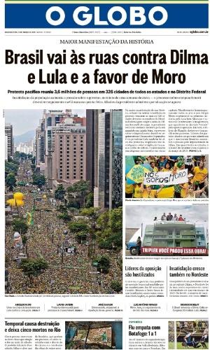 RJ: Capa do jornal O Globo de 14 de março de 2016