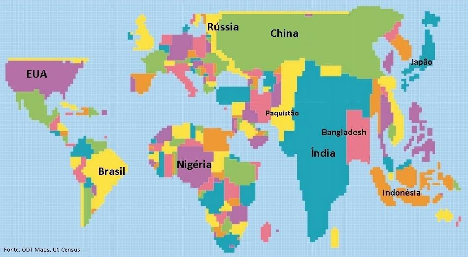 O mapa mostra os países redimensionados de acordo com sua população. O Brasil possui a quinta maior população do mundo (204 milhões), atrás de China (1,37 bilhão), Índia (1,25 bilhão), Estados Unidos (323 milhões) e Indonésia (256 milhões)