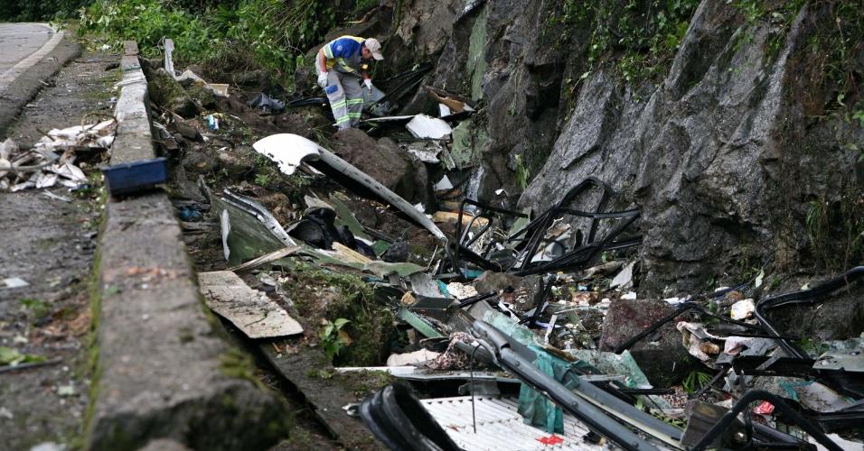 9.jun.2016 - Autoridades procuram pertences de vítimias na rodovia onde um ônibus que fazia o fretamento de estudantes universitários tombou por volta das 23h desta quarta-feira (8) na altura do km 84 da rodovia Mogi-Bertioga, entre as cidades paulistas de Biritiba-Mirim (região metropolitana) e Bertioga (litoral). Pelo menos 18 pessoas morreram