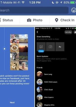 Atualizações rápidas do Facebook, em fase de testes