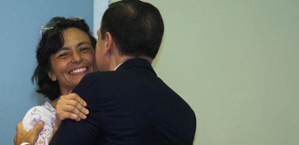 4.jan.17 - A então secretária de Assistência Social, Soninha Francine, e o prefeito João Dória participam de evento na prefeitura
