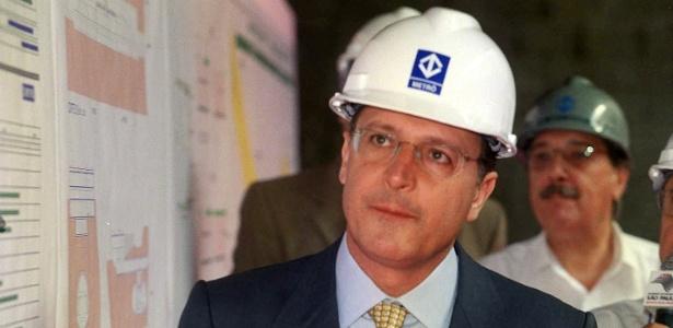 O governador Geraldo Alckmin na retomada das obras da linha verde do Metrô, em 2004