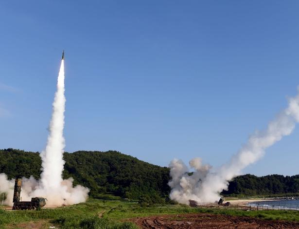 Imagem divulgada pelo Ministério da Defesa da Coreia do Sul mostra exercício militar realizado em conjunto com os EUA
