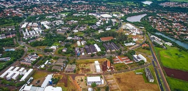 Vista aérea do campus da Unicamp, em Campinas