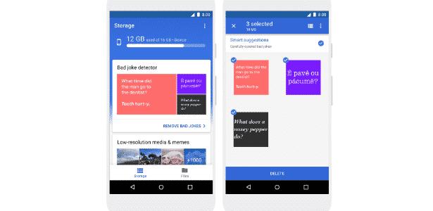 """1.abr.2018 - """"Detector de piada ruim"""" do app Files Go, do Google, no 1º de abril - Reprodução - Reprodução"""
