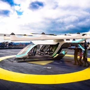 Conceito de táxi aéreo que está sendo desenvolvido pela Embraer em parceria com a Uber