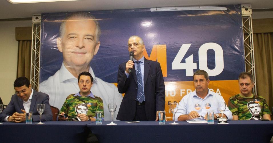 24.out.2018 - Candidato do PSB ao governo de São Paulo, Marcio França durante coletiva de imprensa no Estanplaza Nações Unidas, em São Paulo (SP), nesta quarta-feira (24)