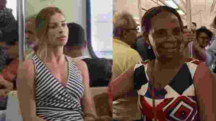 Enquanto Paloma pega o trem sentada, a costureira Maria Luiza costuma viajar em pé em trens lotados - Divulgação/Taís Vilela - Divulgação/Taís Vilela