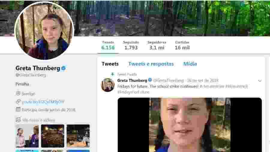 """A ativista Greta Thunberg muda sua descrição no Twitter para """"Pirralha"""" após ser criticada por Bolsonaro   - Reprodução/Twitter"""