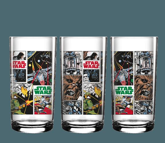 Copos long drink Nadir Figueiredo, com ilustrações inspiradas em história em quadrinhos de Star Wars. Preço sugerido de cada um é R$12,90