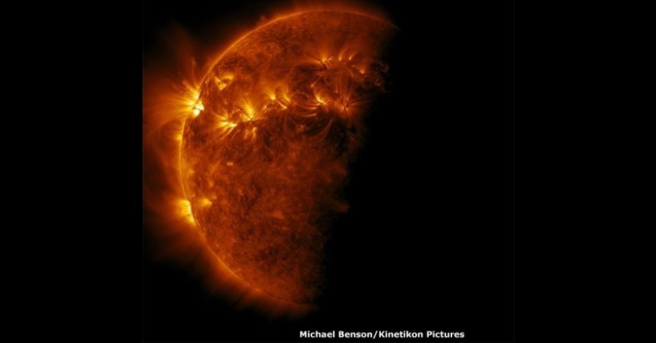 Acima, erupções gigantes na superfície do lado direito do Sol. Benson usou dados brutos sobre a exposição na Terra a raios ultravioleta para criar esta foto