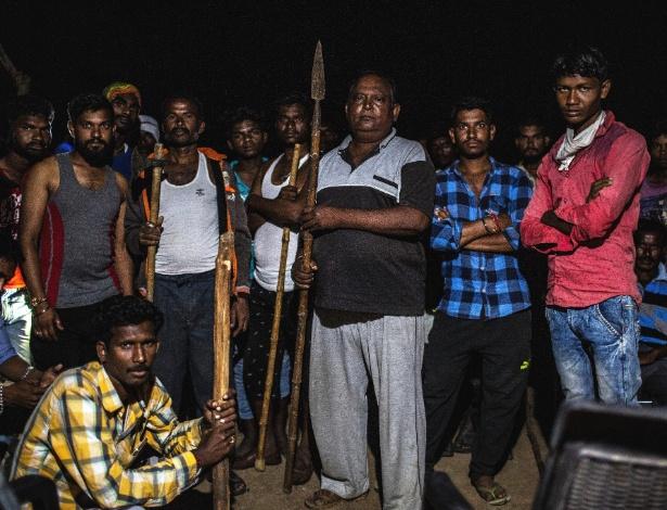 Moradores de Vihirgaon, na Índia, fazem busca por tigre que matou 13 pessoas