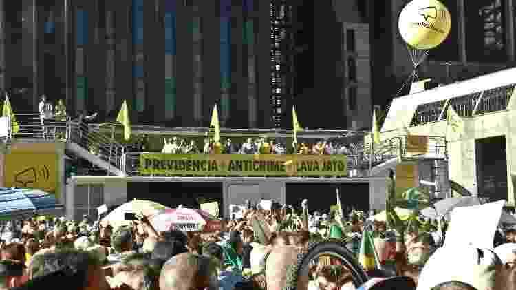 Trio do Vem Pra Rua, na avenida Paulista, não fazia menções ao presidente Bolsonaro - MAURÍCIO CAMARGO/ELEVEN/ESTADÃO CONTEÚDO