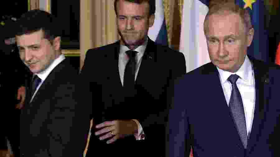 Os presidentes Volodimir Zelenski (Ucrânia), Emmanuel Macron (França) e Vladimir Putin (Rússia) em encontro em Paris - Sputnik/Alexei Nikolsky/Kremlin/Reuters