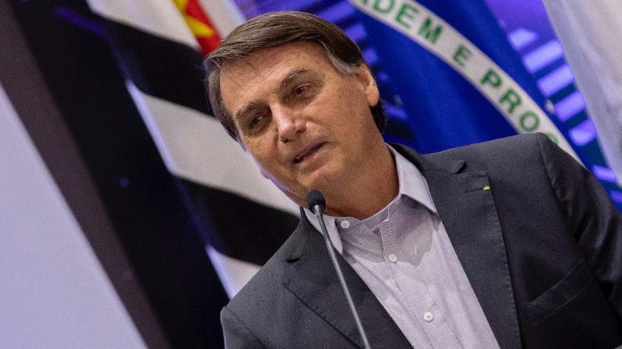 29.out.2021 - O presidente Jair Bolsonaro (sem partido) durante cerimônia em Campinas (SP) - Bruno Rocha/Fotoarena/Estadão Conteúdo