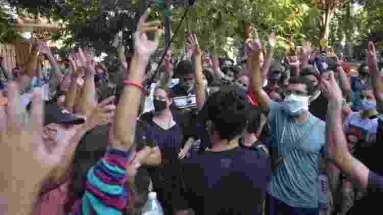 Centenas de ativistas e intelectuais fizeram protestos sem precedentes em novembro passado na sede do Ministério da Cultura de Cuba - GETTY IMAGES - GETTY IMAGES