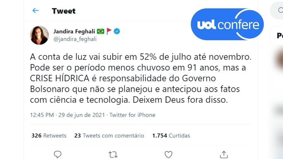 29.jun.2021 - Post da deputada federal Jandira Feghali (PCdoB-RJ) confunde aumento da taxa extra (bandeira vermelha) com aumento da conta de luz como um todo - Reprodução/Twitter Jandira Feghali