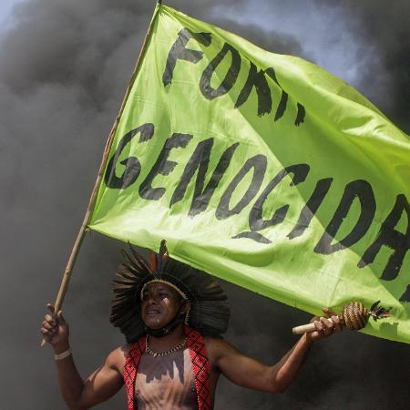 Indígenas protestam contra proposta do marco temporal, que só reconheceria terras indígenas ocupadas antes de 1988 - Fernanda Pierucci/Futura Press/Estadão Conteúdo