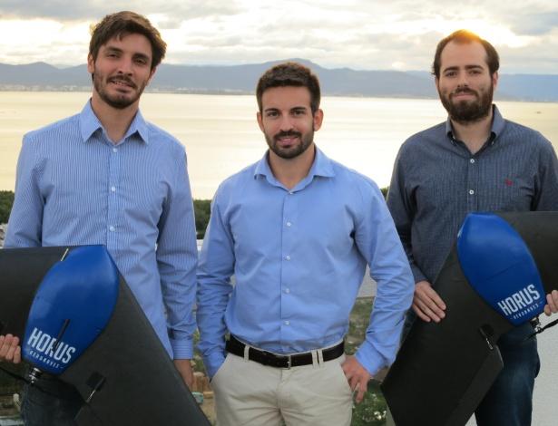 Sócios da Horus Aeronaves: da esquerda para direita, Lucas Mondadori, Fabrício Hertz e Lucas Bastos
