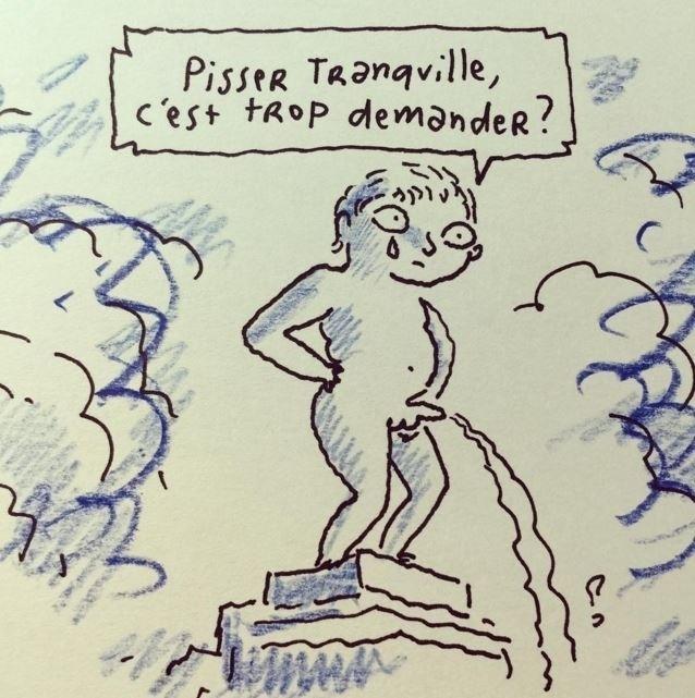 """22.mar.2016 - O cartunista francês Joann Sfar também fez diversas charges sobre o atentado terrorista desta terça-feira em Bruxelas, capital da Bélgica. Em uma delas, o Menneken Pis questiona: """"Mijar tranquilo é pedir demais?"""""""