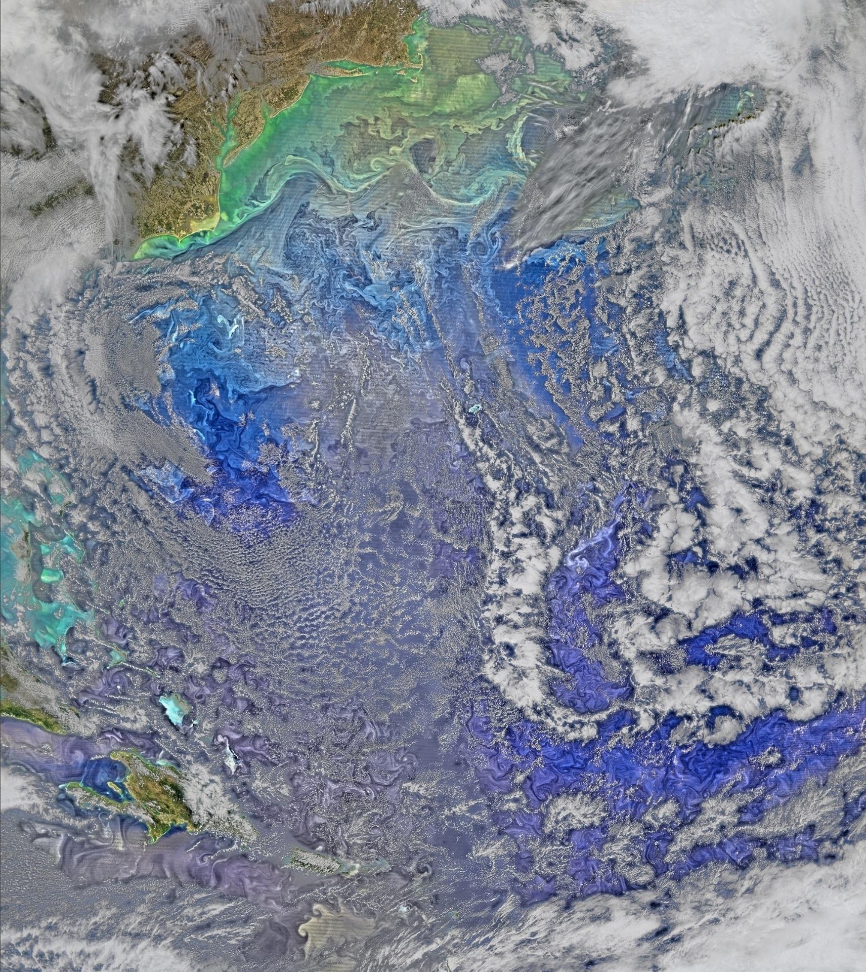 5.abr.2016 - As águas da Corrente do Golfo se encontram com o turbulento Oceano Atlântico, nesta imagem feita por um satélite da Nasa (Agência Espacial Norte-Americana) no dia 9 de março e divulgada nesta terça-feira (5)