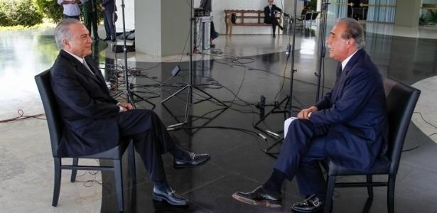 Temer concede entrevista ao jornalista Roberto D'Ávila no Palácio do Jaburu