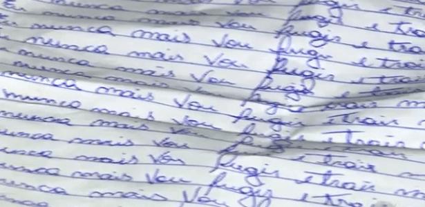 Carta escrita por jovem de 18 anos que era mantida em cárcere privado pelo namorado, de 42, em Campinas (SP)