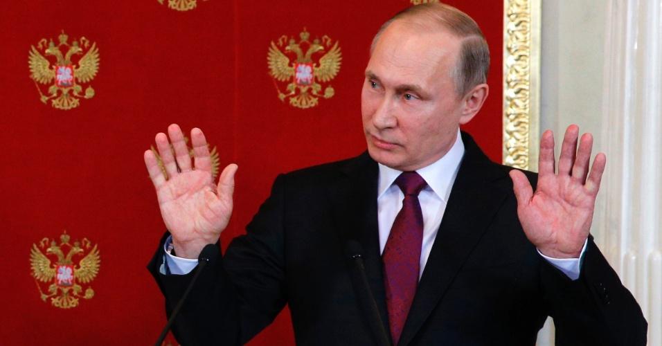 11.abr.2017 - O presidente russo Vladimir Putin durante entrevista à imprensa em Moscou