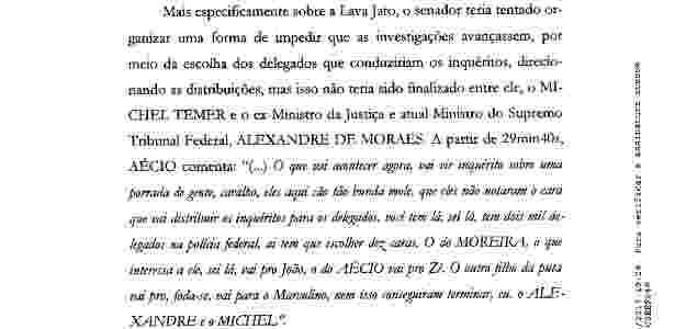 Trecho do pedido de abertura de inquérito feito pela PGR sobre tentativa do senador Aécio Neves de controlar a distribuição dos inquéritos da Lava Jato - Reprodução