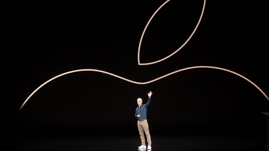 Tim Cook comanda evento de novo lançamento de iPhones da Apple - Noah Berger/AFP