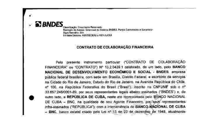 Reprodução da primeira página do contrato entre o BNDES e o governo de Cuba para construção do porto de Mariel, documento disponível no site do banco - BBC