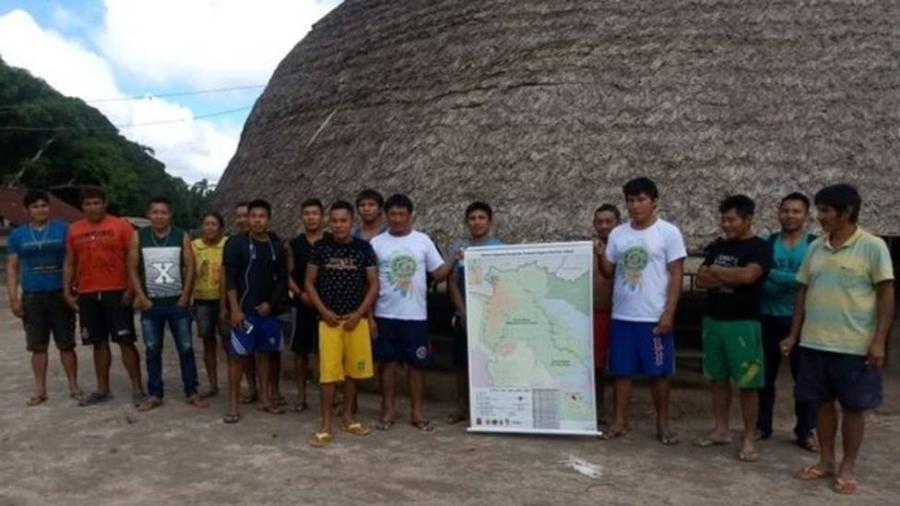 Parentes indígenas continuaram as buscas de forma independente após a suspensão da FAB no dia 17 de dezembro - Acervo Pessoal/BBC
