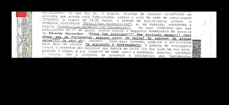 Registro em cartório do comentário de funcionário de Eduardo Bolsonaro em página de Júnior Bozzella - UOL