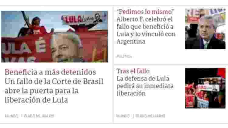Clarín publicou texto de correspondente no Brasil e fala do presidente argentino recém-eleito, que comemorou possibilidade de soltura de Lula - Reprodução