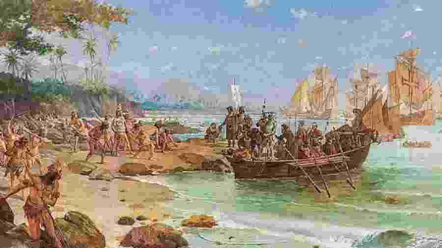 Desembarque de Cabral em Porto Seguro, óleo de Oscar Pereira da Silva, 1922 - reprodução
