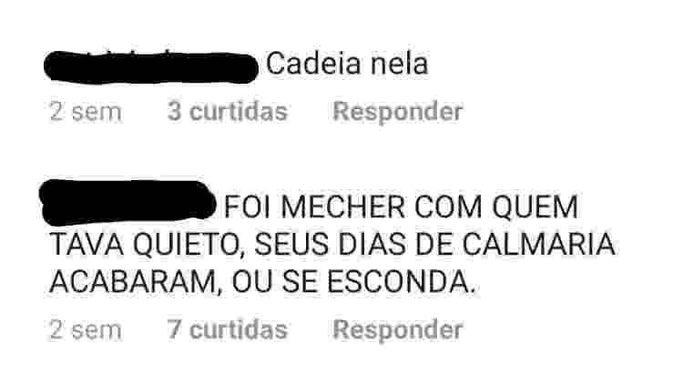 ameaça - Reprodução/Instagram Tininha Mattos - Reprodução/Instagram Tininha Mattos