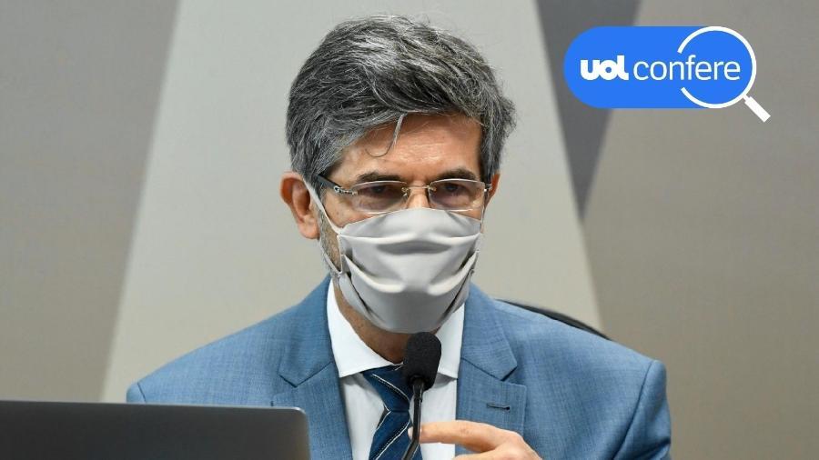 5.mai.2021 - UOL Confere: o ex-ministro Nelson Teich presta depoimento na CPI da Covid no Senado - Jefferson Rudy/Agência Senado