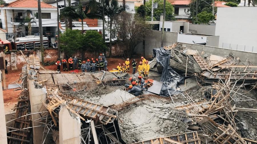 Desabamento de laje na Chácara Santo Antônio, na zona sul de São Paulo, deixou uma pessoa ferida - Corpo de Bombeiros de São Paulo