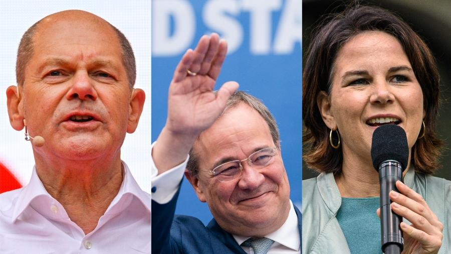 Olaf Scholz (SPD), Armin Laschet (CDU) e Annalena Baerbock (Partido Verde) disputaram o governo da Alemanha - Getty Images