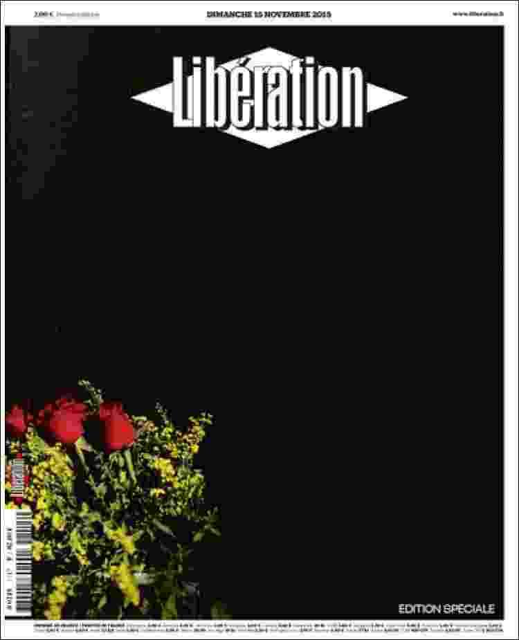 """15.nov.2015 - Em edição especial deste domingo (15), o jornal francês """"Libération"""" não colocou texto em sua primeira página, apenas flores sobre um fundo negro - Reprodução"""