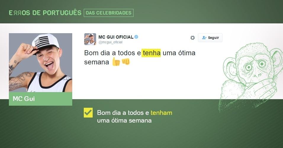 erros de português de celebridades - MC Gui