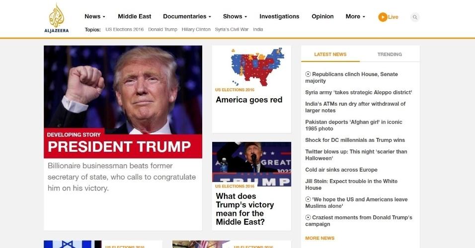 09.nov.2016 - Em sua versão online, a emissora de TV Al Jazeera, sediada em Doha, no Qatar, reflete sobre o significado da vitória de Trump para o Oriente Médio