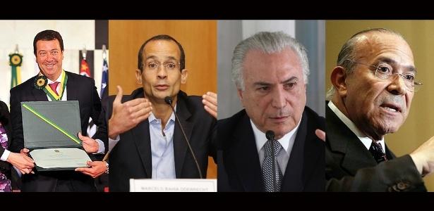 Da esq. para a dir., o então executivo da Odebrecht Cláudio Melo Filho, Marcelo Odebrcht, Michel Temer e o hoje ministro Eliseu Padilha