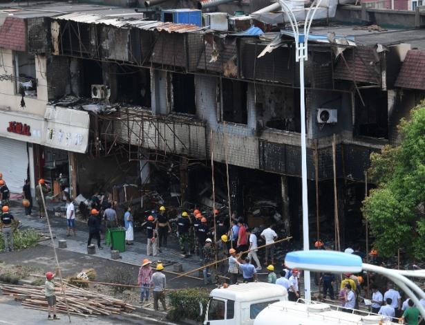 Prédio de loja na cidade de Hangzho, na China, atingida pela explosão desta sexta-feira