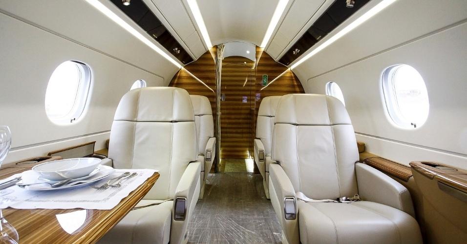 A cabine de passageiros do Legacy 450 é uma das mais amplas da categoria. Segundo a Embraer, toda a madeira utilizada no acabamento interno é importada da Áustria. Se for instalada uma cozinha na parte da frente do avião, a capacidade cai para sete passageiros
