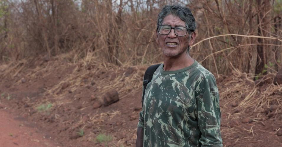1º.dez.2017 - O indígena Otore Xikrin é um dos guerreiros que monitoram as ações da Onça Puma nas proximidades do rio Cateté. Para isso, os índios criaram um posto de observação dentro da terra