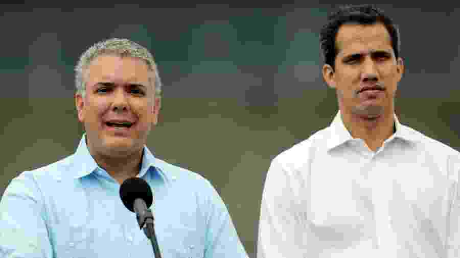 23.fev.32019 - Presidente da Colômbia, Ivan Duque, se pronuncia ao lado de Guaidó, autoproclamado presidente da Venezuela - Luisa Gonzalez/Reuters